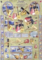 Freestyle Musical Instruments 3d Die Cut Decoupage Sheet From Dufex